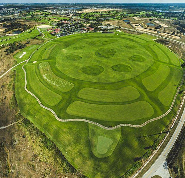 overhead view of driving range